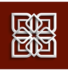 White 3d ornament in arabic style vector