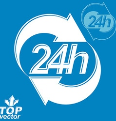 3d 24 hours graphic symbol with invert version vector