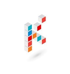 3d cube letter k logo icon design template vector