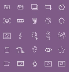 Photography line icons on violet background vector
