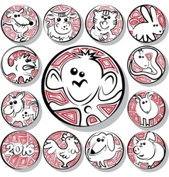 Chinese zodiac icon signs vector