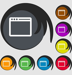 Simple browser window icon symbols on eight vector