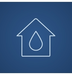 House with water drop line icon vector