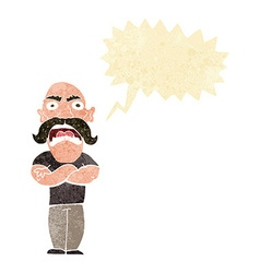 Cartoon angry man with speech bubble vector