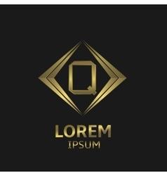Golden q letter vector