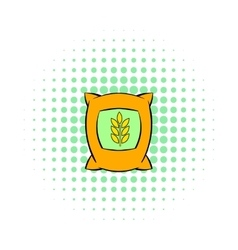 Bag of wheat icon pop-art style vector