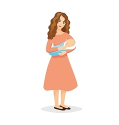 Motherhood icon young beautiful mother holding vector
