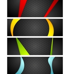 Abstract dark corporate banners with bright waves vector