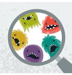 Background with little angry viruses and magnifier vector