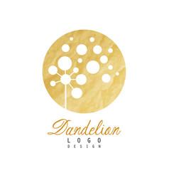 Beautiful abstract dandelion logo gentle golden vector