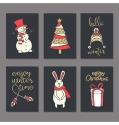 Christmas greeting decorated cards set vector