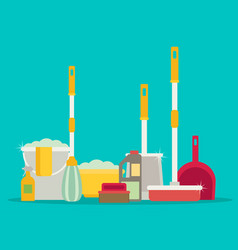 Cleaning set isolate flat design vector