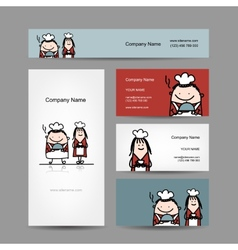 Design of business cards with chef cook cartoon vector