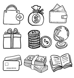 doodle business icon set 1- hand drawn vector image