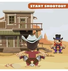 Duel between two guys characters wild west series vector