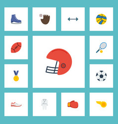 flat icons rugby american football ball and vector image