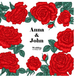 Floral wedding invitation card sketch red roses vector