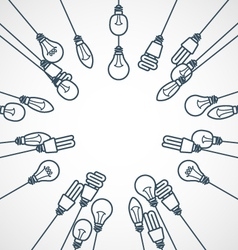 Frame of light bulbs hanging on cords - lamps vector
