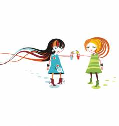 funky cartoon girls vector image vector image