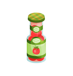 Glass jar with pickled tomatoes canned vegetables vector