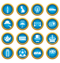 great britain icons blue circle set vector image vector image
