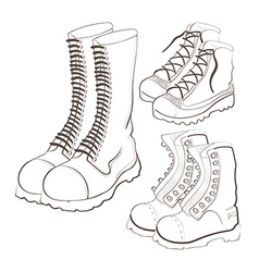 hand drawn doodle boots icon set vector image