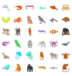 Many animals icons set cartoon style vector