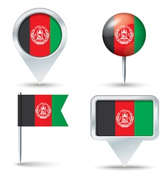 Map pins with flag of afghanistan vector