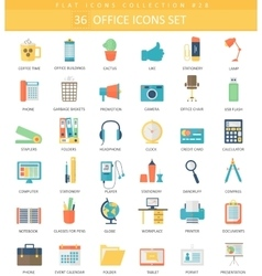 Office color flat icon set Elegant style vector image