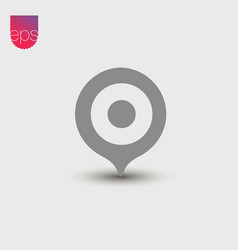 Pin simple icon emblem isolated on grey vector
