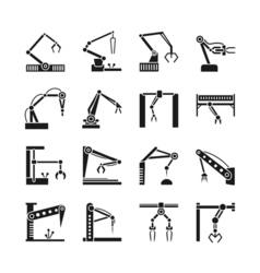 Robot arm icons Industrial manufacturing assembly vector image