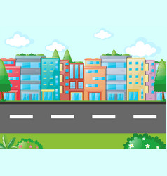 Scene with many buildings along the road vector