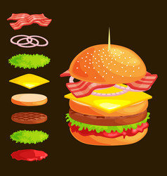 Set of burger grilled beef vegetables dressed with vector