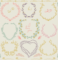 Set of hand drawn floral frame and lines border in vector image vector image