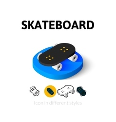 Skateboard icon in different style vector image