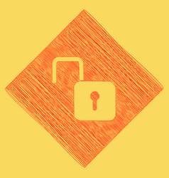 Unlock sign red scribble vector