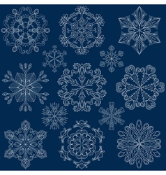 vintage ornamental snowflake set in zentangle vector image
