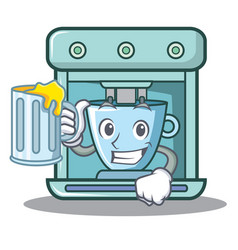 with juice coffee maker character cartoon vector image