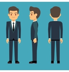 Young person man in three points of view in vector image