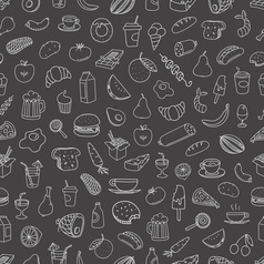 Different food doodles seamless background lineart vector