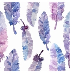 Watercolor feathers seamless pattern vector
