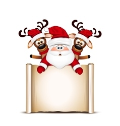 Christmas card santa claus and two reindeer vector