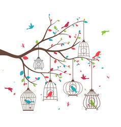 colorful tree with birds and birdcages vector image