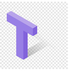 t letter in isometric 3d style with shadow vector image