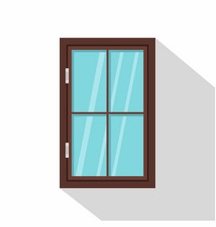 Closed brown window icon flat style vector