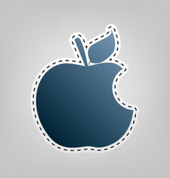 Bite apple sign blue icon with outline vector