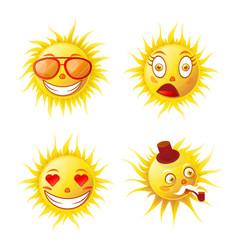 cartoon cute funny sun emojis isolated vector image