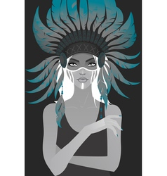 Beautiful girl in a headdress of feathers vector