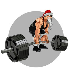 Santa claus athlete with a barbell vector