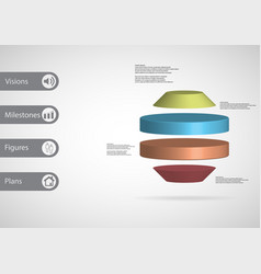 3d infographic template with round octagon vector image vector image